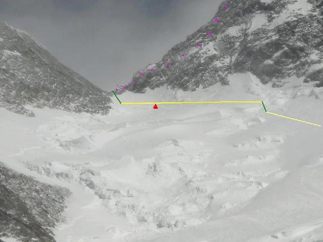 сложный участок на высоте 7820 метров на Броуд Пик
