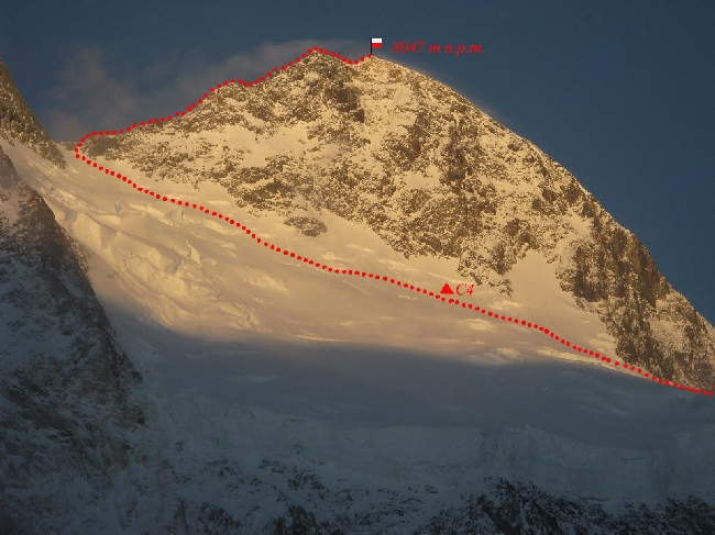 Верхняя часть стандартного маршрута на Броуд Пик. Фото польской экспедиции. март 2013 года