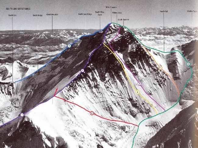 Маршруты юго-западной стены Эвереста. 9 - английская экспедиция 1975 года под руководством Криса Бонингтона, 11 - польская экспедиция 1980 г. (Ежи Кукучка и Анджей Чок).