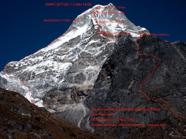 первое восхождение по южному столпу Kyashar (Peak 43; 6,770м) в регионе Кхумбу