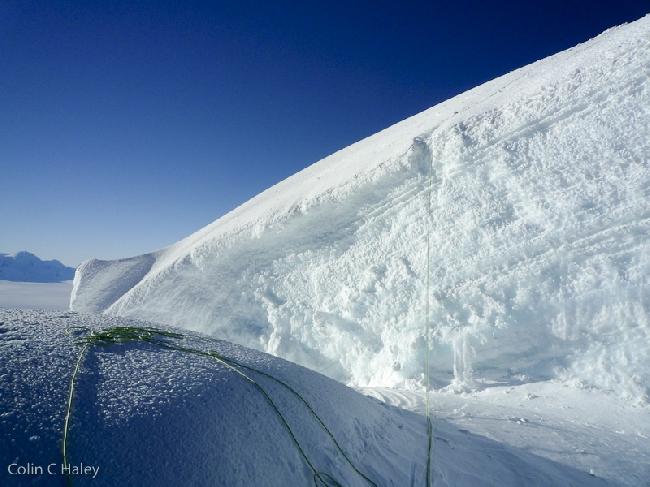 Ледовый участок чуть ниже вершины Adela Norte