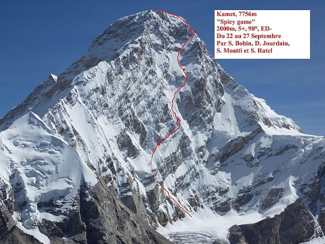 """Новый Французский маршрут в альпийском стиле на гималайскую вершину Kamet (7,756 м) """"Spicy Game"""""""