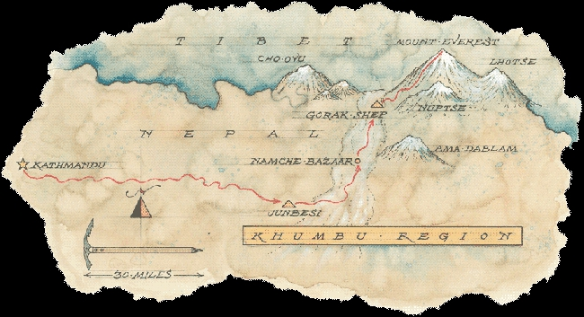 Маршрут длинной в 280 километров к Базовому лагерю Эвереста американская экспедиция смогла преодолеть лишь за 3 недели