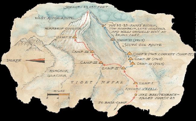 Маршрут американской команды на Эверест 1963 года. Маршруты через Западный гребень и через Южное седло расходятся в высотном лагере Camp2 выше ледопада Кхумбу