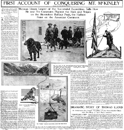 """Статья о первом покорении Мак-Кинли экспедицией """"Кислое Тесто"""". 5 июня 1910 года"""