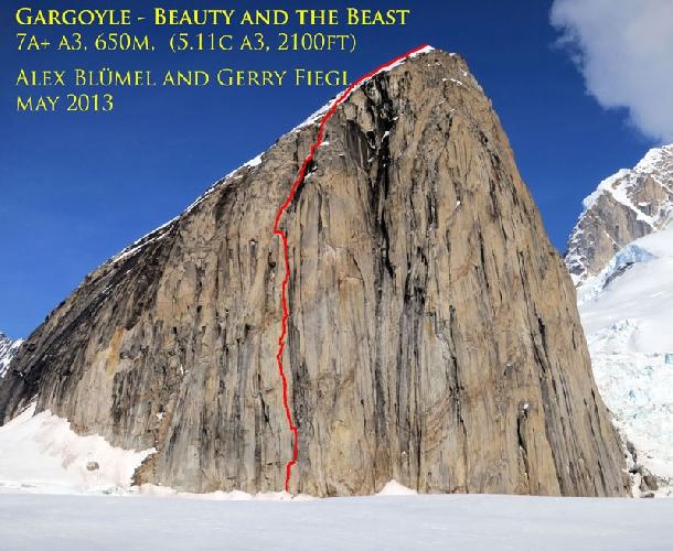 "маршрут ""Красавица и чудовище"" (""Beauty and the Beast"") 5.11c, A3 640м на вершину Gargoyle (Аляска)"
