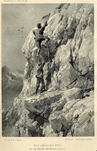 Людвиг Пурчеллер (Ludwig Purtscheller)  и Karl Blodig 1895 год. Mauvais Pas