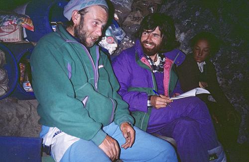 Артур Хайзер (Artur Hajzer) и Райнхольд Месснер (Reinhold Messner) в базовом лагере восьмитысячника Лхоцзе