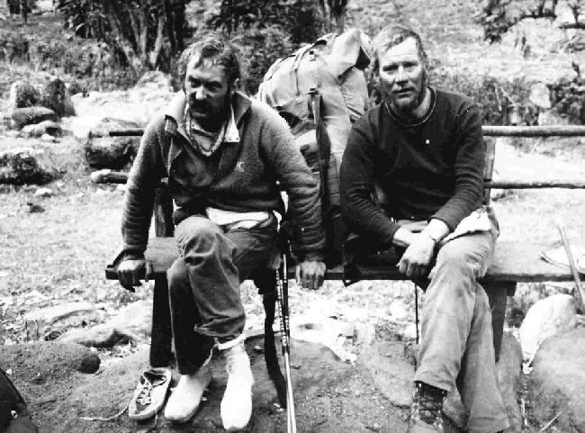 Кшиштоф Величко (Krzysztof Wielicki) и Ежи Кукучка (Jerzy Kukuczka) после спуска с Канченджанги. январь 1986 года