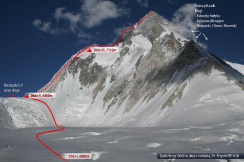 Планируемый маршрут Артура Хайзера (Artur Hajzer) и Марчина Качкана (Marcin Kaczkan) на Гашербрум I (8080 м) отмечен белым текстом. Красный трек - стандартный маршрут восхождения