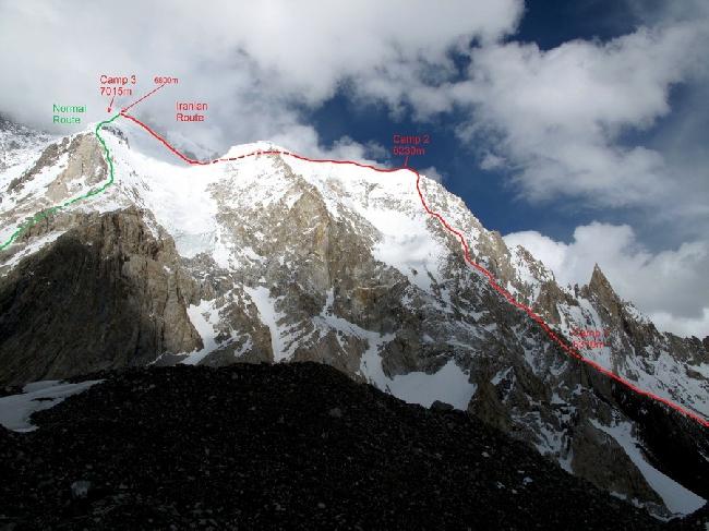 Иранский маршрут (Iranian route on Broad Peak) от Базового лагеря к высотному лагерю Camp3 (7015 м) на Броуд Пик
