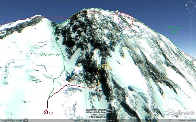 Иранский маршрут (Iranian route on Broad Peak) от высотного лагеря Camp3 (7015 м) к вершине Броуд Пик. Зеленая линия слева - стандартный маршрут; зеленая линия справа - маршрут Урубко-Самойлова 2005 года
