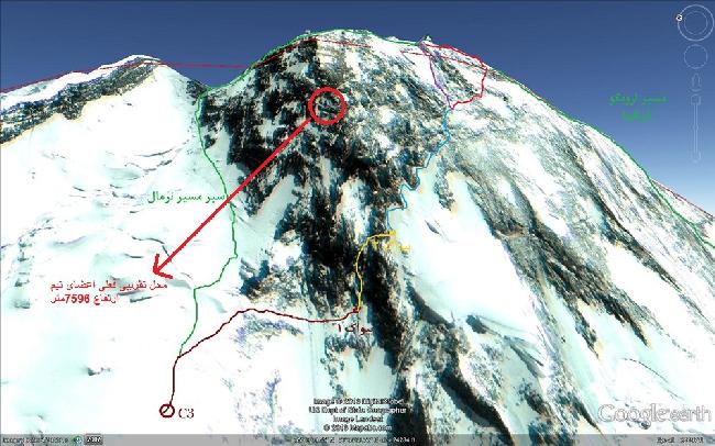 Ориентировочное место где застряли иранские альпинисты на Броуд Пик. июль 2013