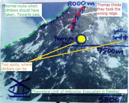 зона полета вертолета и предполагаемое место гибели иранских альпинистов на Броуд Пик