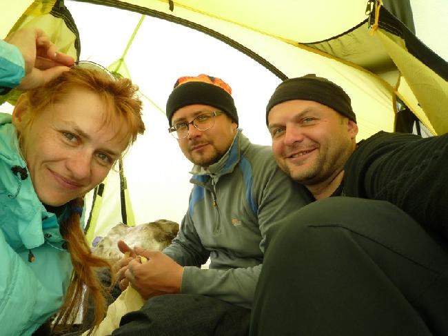 Вид на ледник Кхумбу, пирамида на заднем плане - Эверест.
