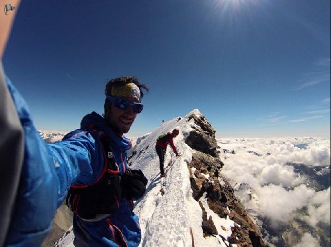 Килиан Джорнет (Kilian Jornet) - фото на вершине Маттерхорна в одном из разведывательном восхождении 16 августа 2013 г