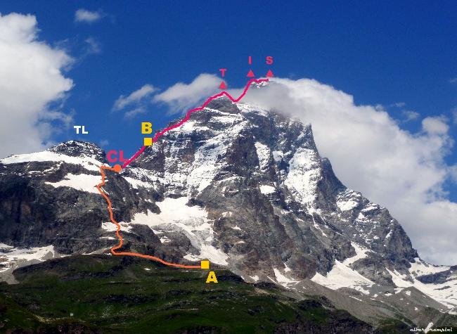 маршрут восхождения на Маттерхорн с Итальянской стороны. <br>A  - хижина Abruzzi;  B - хижина Carrel; TL -  Testa del Leone; CL - перевал Colle del Leone; T - Пик Тиндаль (Tyndall); I - Итальянская вершина Маттерхорна; S - Швейцарская вершина Маттерхорна