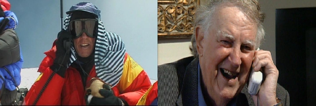 Питер Хиллари (Peter Hillary) разговаривает по телефону с вершины Эвереста  со своим отцом сэром Эдмундом Персивалем Хиллари (Sir Edmund Percival Hillary)