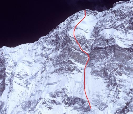 Верхняя часть маршрута восхождения Ули Штека на Аннапурну по Южной стене. Эту линию в 1992 году пытались пройти Жан-Кристоф Лафаль (Jean-Christophe Lafaille) и Пьер Бегин (Pierre Beghin)