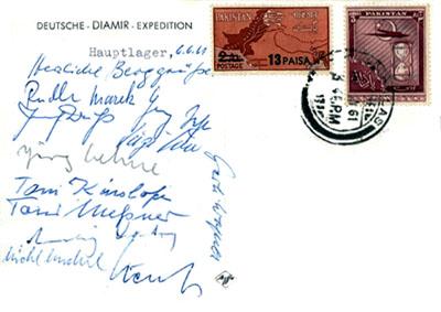 Открытка экспедиции Херрлигкоффера к Нангапарбат в 1961 году с подписями всех ее участников