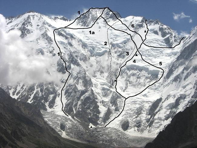 Западная сторона - сторона Диамир восьмитысячника Нагапарбат (Diamir Face of Nanga Parbat).<br>(1) Маршрут Кинсхофера (Kinshofer Route, 1962, оригинальный маршрут). <br>(1a) Современный вариант маршрута Кинсхофера. <br>(2) Маршрут братьев Месснеров 1970 год<br>(3) Маршрут спуска в соловосхождении Рейнхольда Месснера, 1978 год<br>(4) Словенский маршрут (Slovenian route), 2011 год <br>(5)  Маршрут соловосхождения Рейнхольда Месснера, 1978 год<br>(6) Предвершинный участок маршрута Шелла (Schell route), 1976 год (восхождение совершалось с Рупальской стороны через перевал Мазено).<br>Кроме того, сегодня существуют несколько вариантов маршрута Шелла, например прохождение 1981 года авторства Ronald Naar; также проходили свои варианты альпинисты Viki Groselj и Irena Mrak