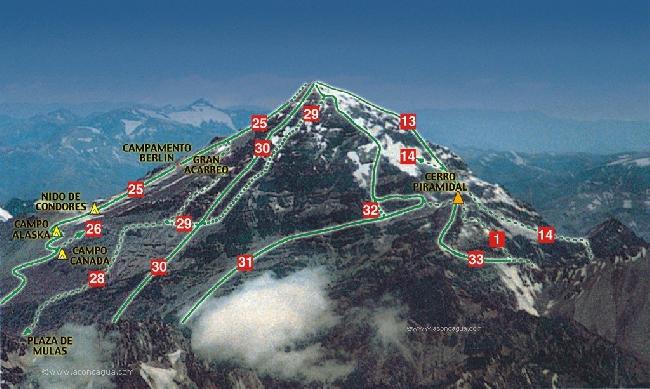 Аконкагуа (Aconcagua, 6962м). Под номером 25 - стандартный маршрут восхождения