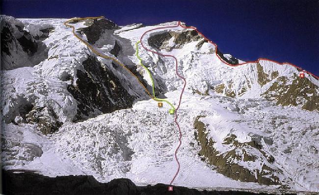 Маршруты Северной стены Аннапурны (Annapurna North Face routes) 1 - Испанский маршрут 1974 года. 2 - Голландский маршрут 1977 года. 3 - Французский маршрут 1950 года. 4 - Польский маршрут 1996 года.