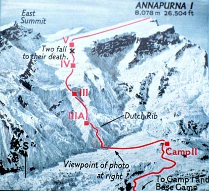 Маршрут восхождения и место гибели Веры и Элисон. Женская экспедиция 1978 года