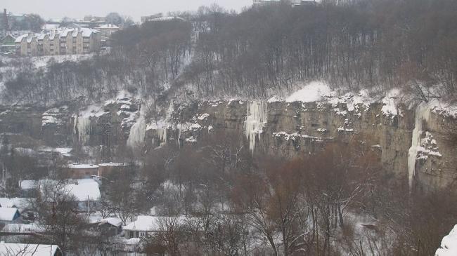 Каменец-Подольский, ледолазание на новоплановском мосту