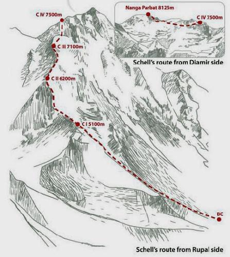 Маршрут Шелла (Schell route) на Нангапарбат. Набросок польской экспедиции 2006-2007 года