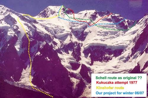 Варианты прохода маршрута Шелла по стороне Диамир. Набросок польской экспедиции 2006-2007 года
