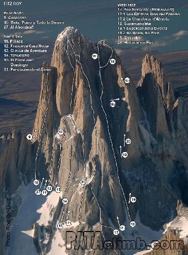 Маршруты Афанасьева (Afanassieff Route) №17 и Supercanaleta route №18 на вершину Фицрой