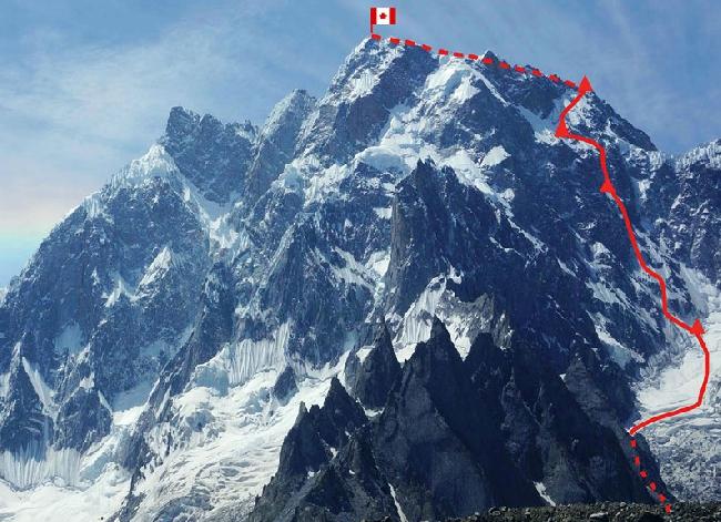 маршрут восхождения на K6 West (Baltistan, 7040) по Северо-Западной стене. Рафаэль Славински (Raphael Slawinski), Ян Вельстед (Ian Welsted). 25-30 июля 2013 года