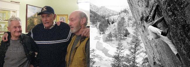 Рэй Норткатт (Ray Northcutt, на фото в центре) и боулдеринговая 20 метровая трещина в каньоне Эльдорадо (фото 1960 года)