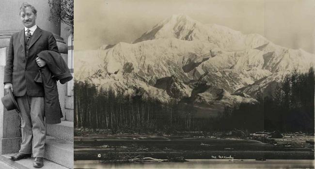 Фредерик Альберт Кук (в 1917 году) и гора МакКинли (Денали, фото 1910 года)