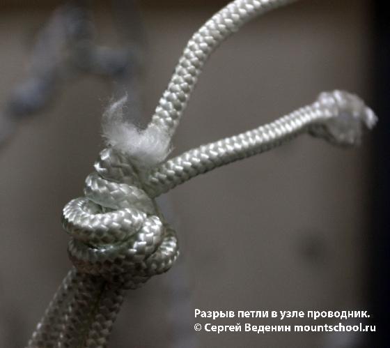 Схватывающий узел Прусик в 3 оборота, петля завязана узлом проводник.