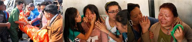Тело погибшего Dorjee Khatri Sherpa оплакивает его семья