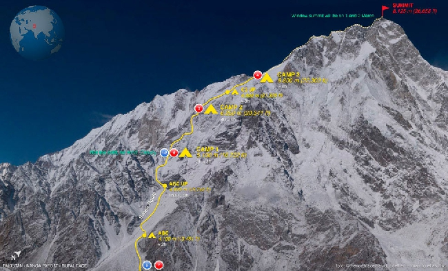 Планируемый маршрут восхождения польской и итальянской команды на вершину Нангапарбат по Рупальской стене. Маршрут Шелла (Shell route)