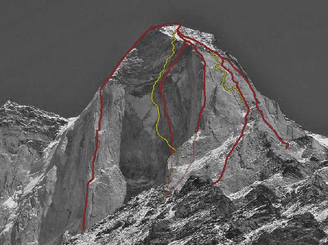 Гора Бхагиратхи III (Bhaguirathi III) Вид на Западный гребень. Существующие маршруты.