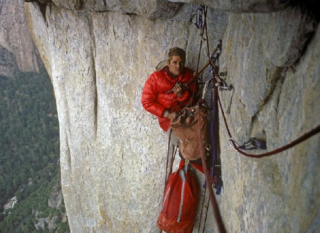 "Петер Хабелер (Peter Habeler) на маршруте ""Salathe Wall"" на Эль-Капитан в Йосемитах"