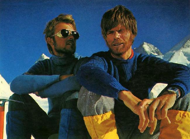 Петер Хабелер (Peter Habeler) и Райнхольд Месснер (Reinhold Messner) у восьмитысячника Гашербрум. 1975 год