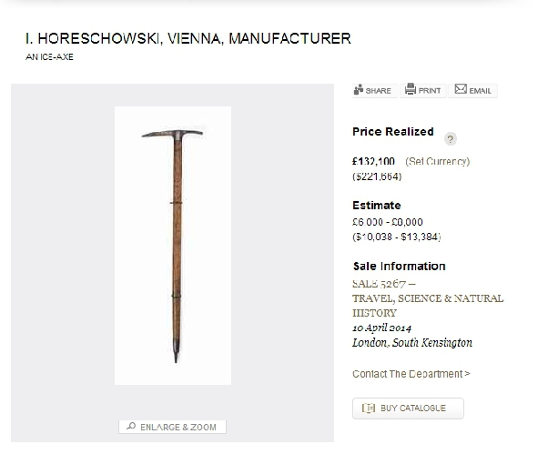 ледоруб Джорджа Мэллори на аукционе Кристи