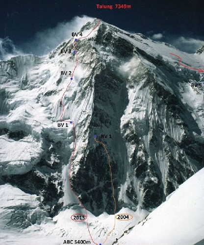 Маршрут чешкой экспедиции Марек Холечек (Marek Holecek) и Зденек Храб (Zdenek Hruby) по Северо-Западному гребню вершины Talung (7349 м. Июнь 2013 года