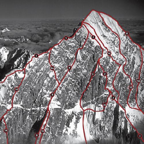 "Западная стена горы Хантингтон (Mount Huntington). Под №16 - маршрут ""Scorched Granite"""