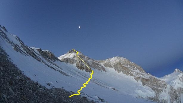 Линия от отметки 7650 метров до 8586 метров