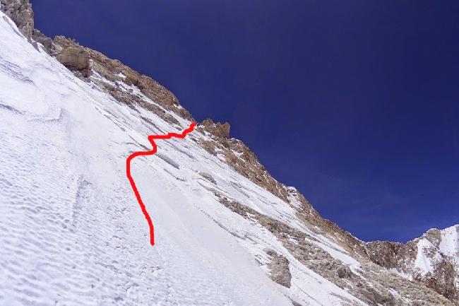 Линия выше отметки 8300 метров
