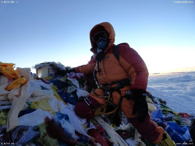 """экспедиция """"Клуб 7 Вершин"""" на вершине Эвереста"""