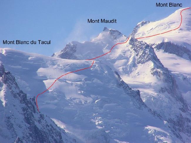 """маршрут """"voie des trois monts"""" на вершины (Mont Maudit, Mont Blanc du Tacul, Mont Bianc"""