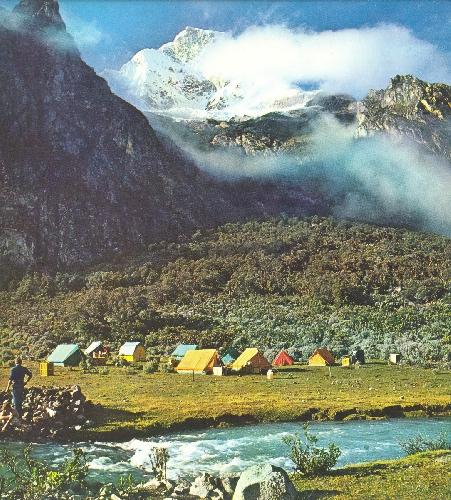 Лагерь чехословацких альпинистов у пика Уандой