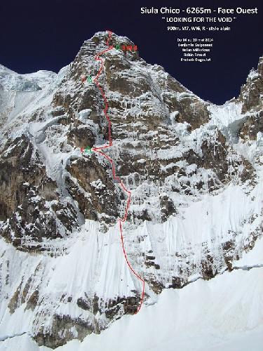 """маршрут """"Looking for the Void"""" по Западной стене шеститысячника Сиула Чико (Siula Chico, 6265 м)."""